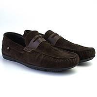 Мокасины мужские коричневые замшевые стильные обувь летняя ETHEREAL Classic Night Brown Vel by Rosso Avangard, фото 1
