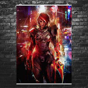 Постер Mass Effect, стилизация под рисунок краской. Размер 60x42см (A2). Глянцевая бумага