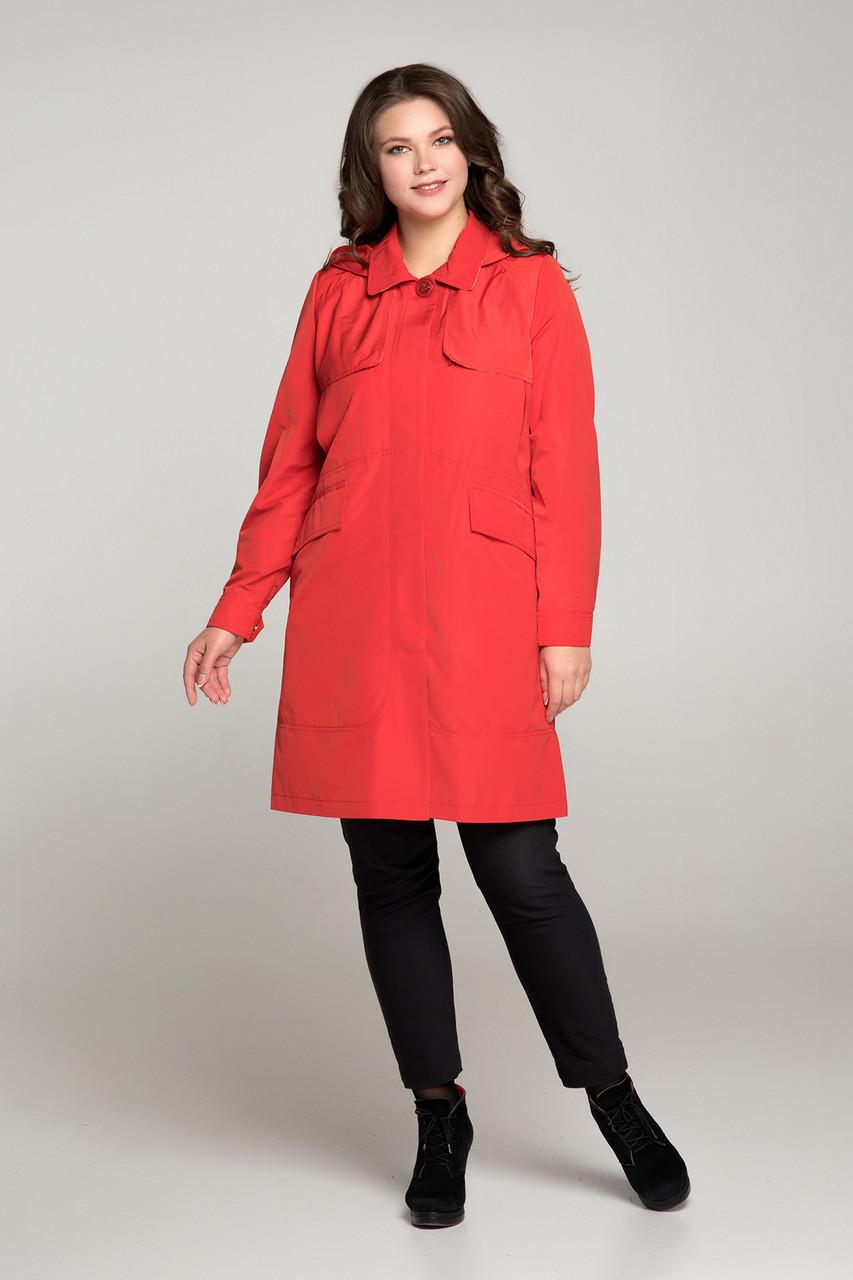 Легкий красный плащ с отлетной кокеткой Большие размеры   48,50,52,54,56,58,60,62