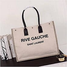 Сумка Shopping Bag Ив Сен Лоран Rive Gauche натуральный лен и кожа