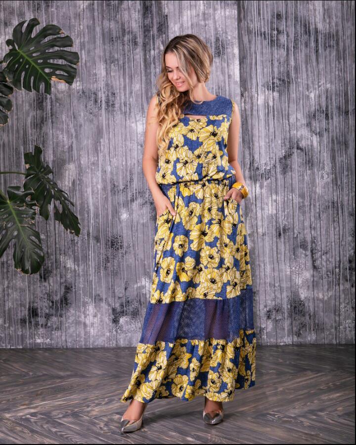 Батальное красивое летнее платье Ромашка