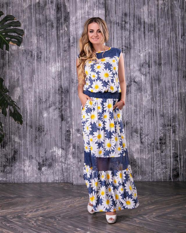 Фото Батального красивого летнего платья Ромашка-1