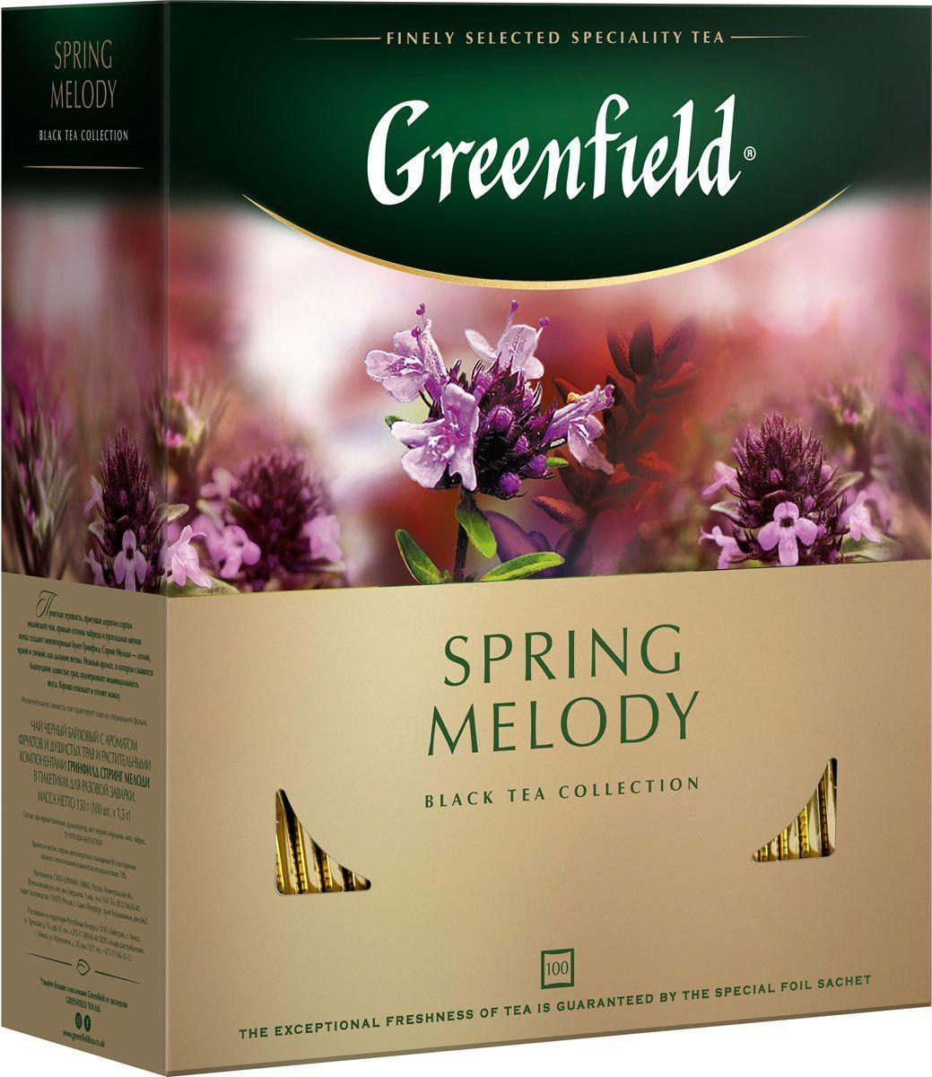 Пакетированный чай Greenfield Spring Melody 100 пакетов (черный с чабрецом и мятой )