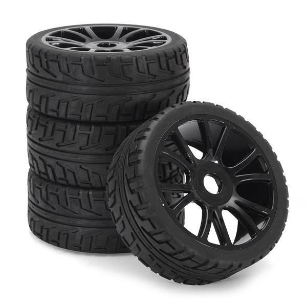 4ШТ 17мм Ободок колеса втулки и Шины HSP 1: 8 Внедорожник РУ-Автомобиль Багги Тир Черный-1TopShop