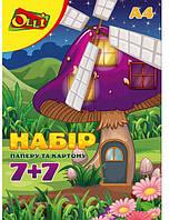 """Набор цветной бумаги и картона """"Olli""""  А4 220 г/м2 7+7 листов 7 цветов"""