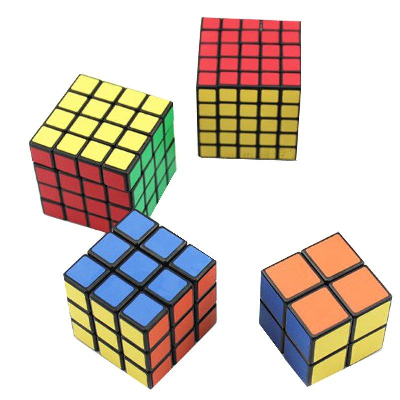 4PCS Classic Волшебный Cube Комплект для игрушек 2x2x2 и 3x3x3 4x4x4 и 5x5x5 ПВХ наклейки Головоломка Скорость Cube - 1TopShop