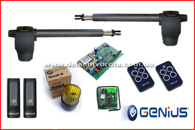 GENIUS G-BAT 400 KIT. Комплект автоматики для распашных ворот. Створка до 3.0м.
