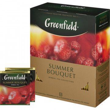 Пакетированный чай Greenfield Summer Bouquet 100 пакетов (черный с малиной)