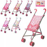 Коляска 9302 W, для куклы, жел, зонтик, двойные колеса, поворот, 55-49-26 см, выс.до руч53 см, 5 видов