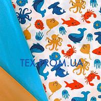 Ткань кулир, трикотажное полотно, (супрем) хб набивка,  морской мир