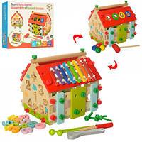 Деревянная игрушка Центр развивающий MD 2087, домик, стучал, сортер, констр, ксилофон, кор32-28-6см