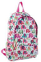 Рюкзак подростковый Yes ST15 Elephant 40*26.5*13 см белый с рисунком (553821)