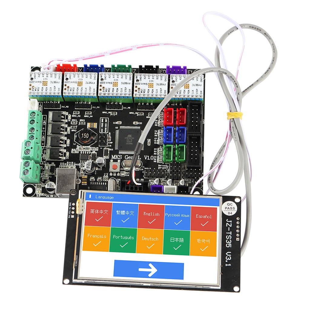 MKS GEN L Материнская плата + 3.5 дюймов LCD WIFI с сенсорным экраном + 5x TMC2209 V2.0 Super Бесшумный Stepper Мотор Драйвер Набор для 3D-принтера -