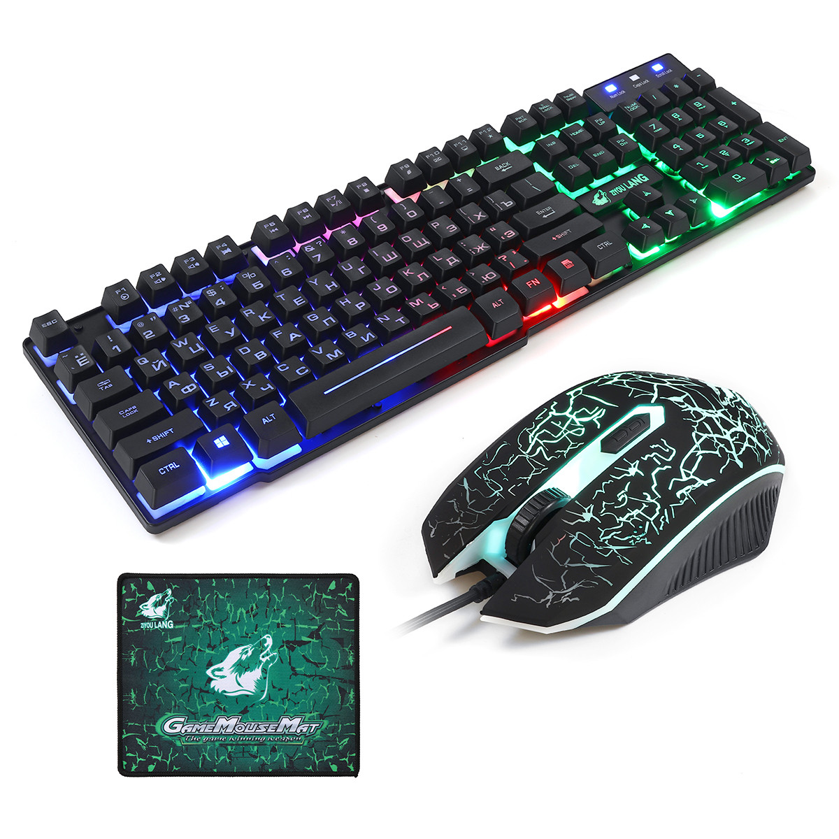 T5 Colorful Bakgrundsbelysning USB Wired Gaming Keyboard och 2000DPI LED Gaming Mouse Combo med musmatta - 1TopShop