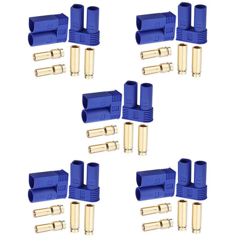 10Set EC5 Flamskyddsmedel Male & Female Connector Banana Head Plug För RC Lipo Batteri - 1TopShop