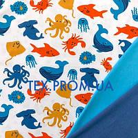 Ткань интерлок, трикотажное полотно, хб пенье 40/1 набивка, дизайн детский, морской мир