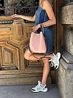 Сумка персиковая 57110 с косметичкой модная с ремнем через плечо, фото 1