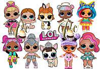 Печать вафельной (рисовой) или сахарной картинки куклы ЛОЛ / dolls LOL на торт, пряники, топеры