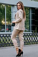 Стильный льняной брючный костюм на подкладе 1188 (44–50р) в расцветках, фото 10