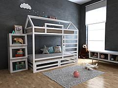 Детская Деревянная двухъярусная кровать домик Джули с ящиками 70х140 см ТМ MegaOpt