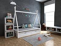 Детская Деревянная кровать домик-Вигвам Моана с ящиками 70х140 см ТМ MegaOpt, фото 1