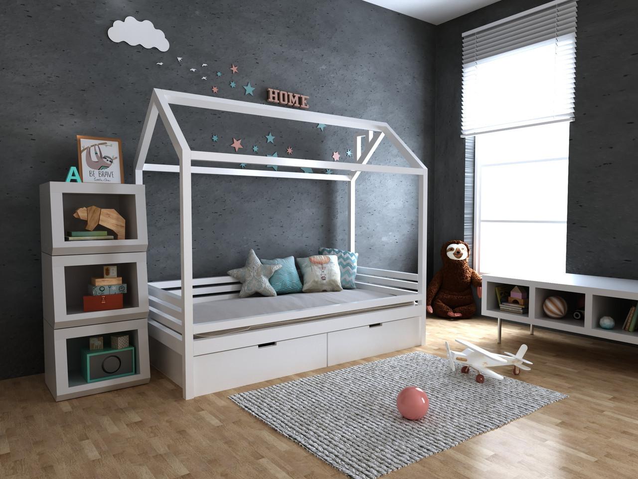 Дитяча Дерев'яне ліжко будиночок Кітті з ящиками 70х140