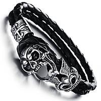 """Кожаный браслет """"Череп"""" со вставками из нержавеющей стали, р. 20,5 и 21,5 см"""