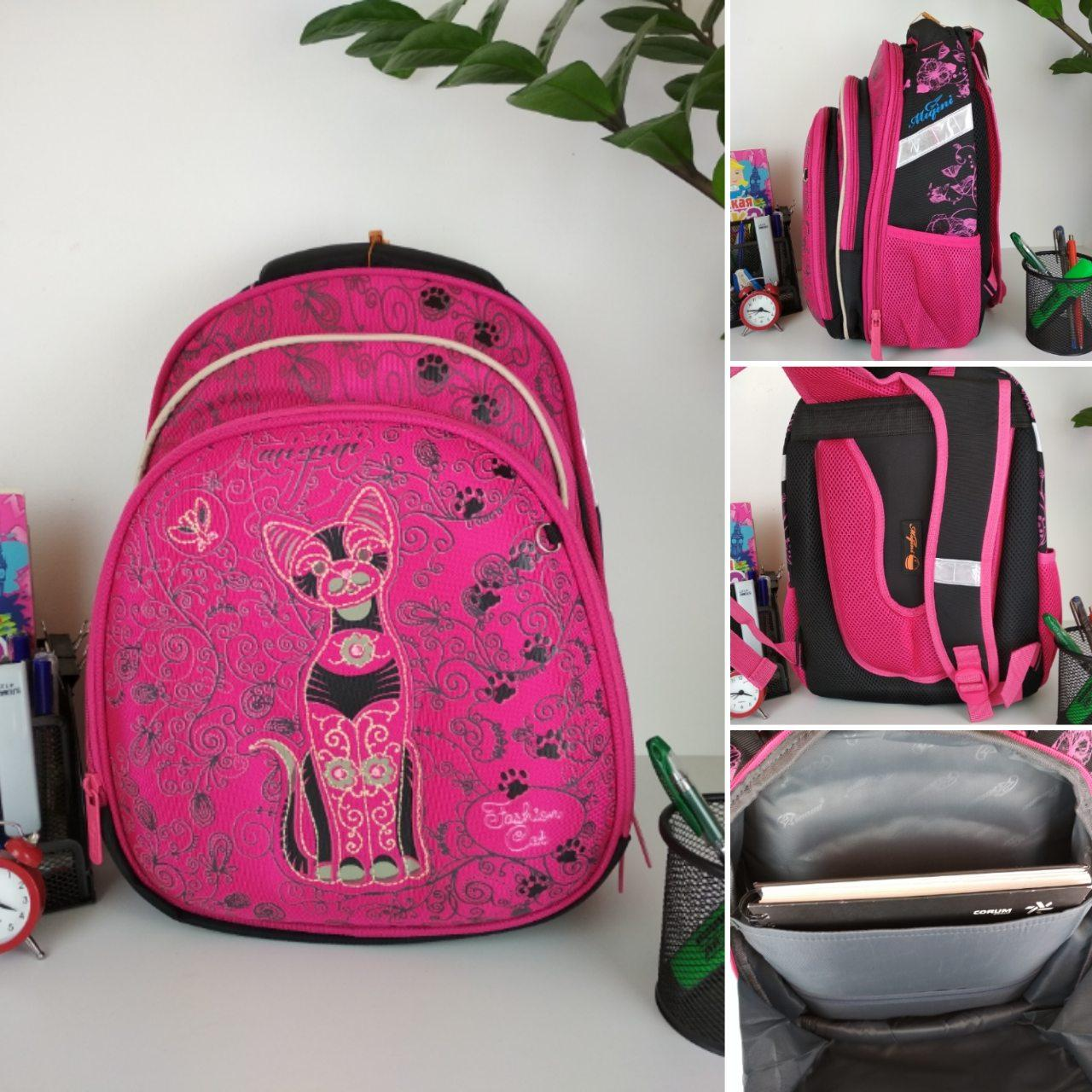 Школьный ортопедический розовый рюкзак с принтом кошка для девочки 38*30*23 см, фото 1