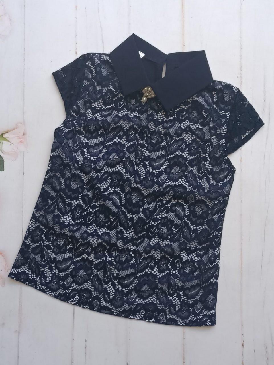 Школьная блузка с коротким рукавом р. 128-152 опт синяя