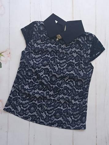 Школьная блузка с коротким рукавом р. 128-152 опт синяя, фото 2