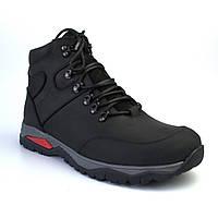 Черные зимние ботинки кожаные на меху мужская обувь большой размер Rosso Avangard Lomerback Trend Crazy Black
