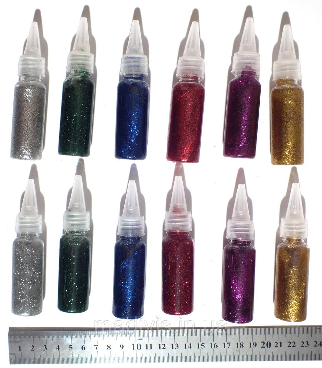 Набор гель-клея с блестками (глиттер), 6 цветов (12 тюбиков по 20 мл.)