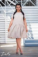 Платье женское короткое из льна свободного кроя в полоску (К28302), фото 1
