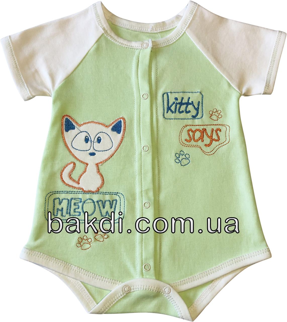Детское летнее боди рост 62 2-3 мес трикотажное интерлок салатовое на мальчика девочку бодик с коротким рукавом для новорожденных малышей СН115