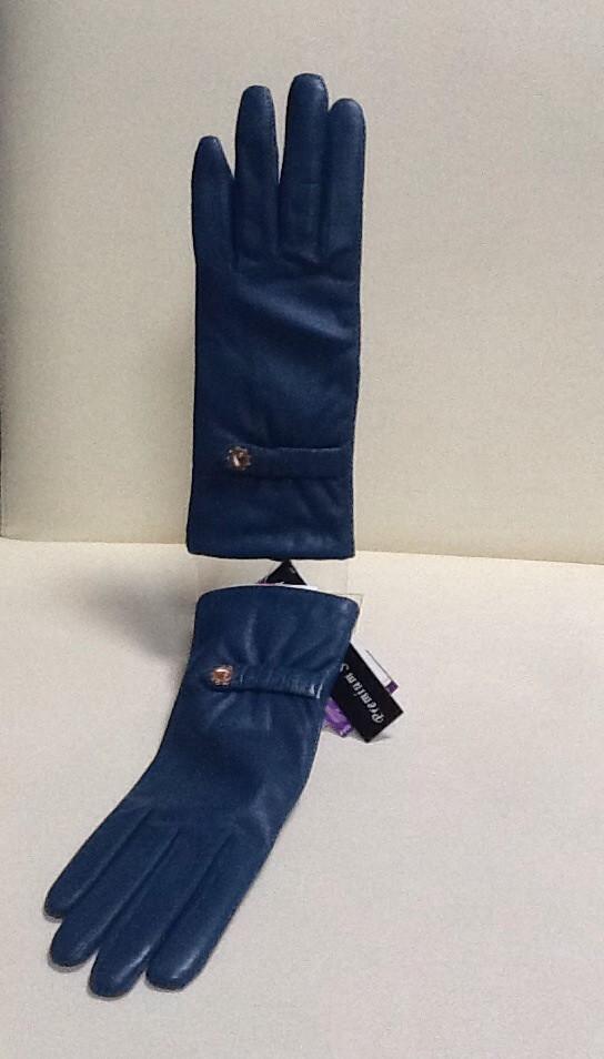Перчатки женские кожаные бирюза