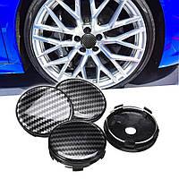 4шт черный ABS углеродного волокна 60 мм / 58 мм универсальная крышка колеса автомобиля центр крышки - 1TopShop