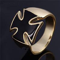 Перстень крест покрытие золотом 18К