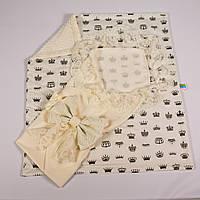 Конверт на выписку летний нежно молочный с кружевом + плед короны с молочным плюшем BabySoon 78х85см, фото 1