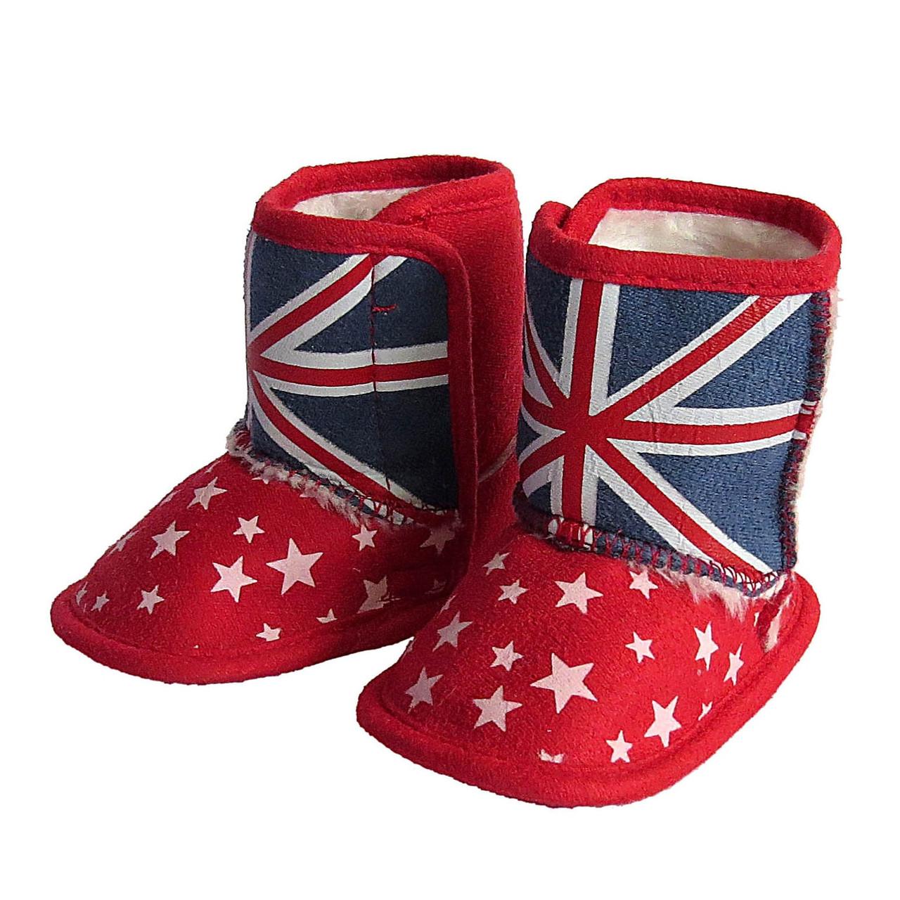 """Теплые пинетки-сапожки """"Британский флаг"""" унисекс."""