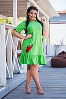 Платье женское короткое из вискозы с оборками и аппликацией (К28303), фото 1