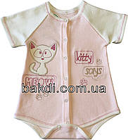 Детское летнее тонкое боди рост 74 (6-9 мес.) интерлок розовый на девочку с коротким рукавом для новорожденных СН-117