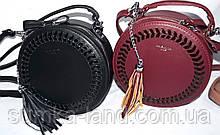 Женские круглые клатчи с кисточкой на цепочке 20*20 см (черный, бордо)