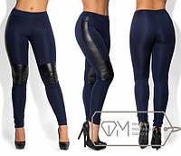 Стильные женские лосины с кожаными вставками в больших размерах h-15mbr456