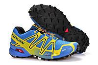 Кроссовки мужские Salomon Speedcross 3, зимние беговые кроссовки Саломон Спидкросс 3 желто-голубые