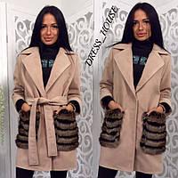 Кашемировое женское Женские пальто с меховыми карманами р-5mpa96