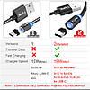 Магнитный кабель Micro USB Topk для зарядки и передачи данных (Черный, 1м), фото 3