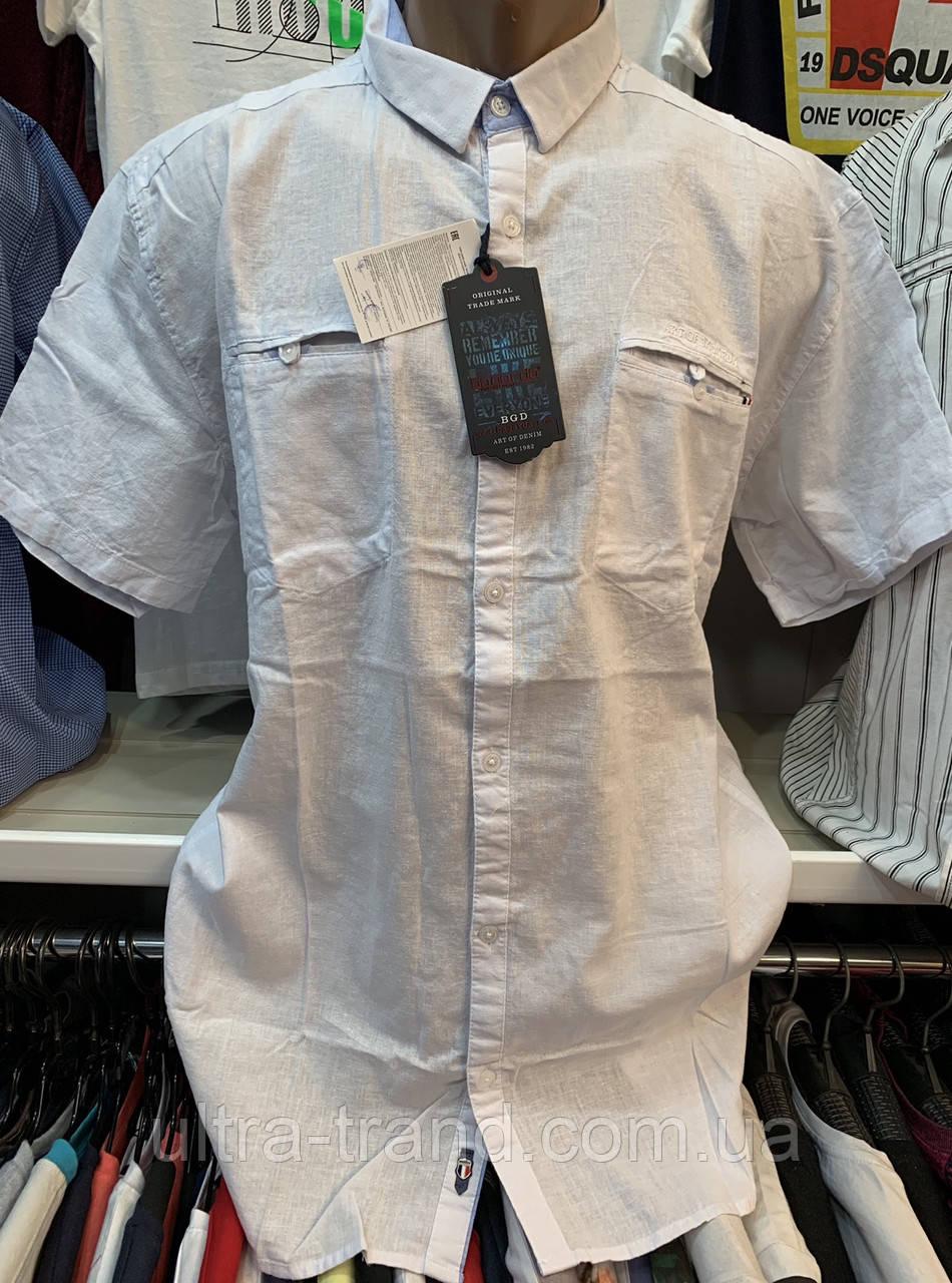 Мужские турецкие льняные белые рубашки с коротким рукавом