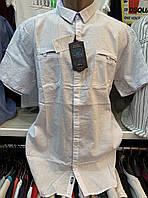 Мужские турецкие льняные белые рубашки с коротким рукавом, фото 1