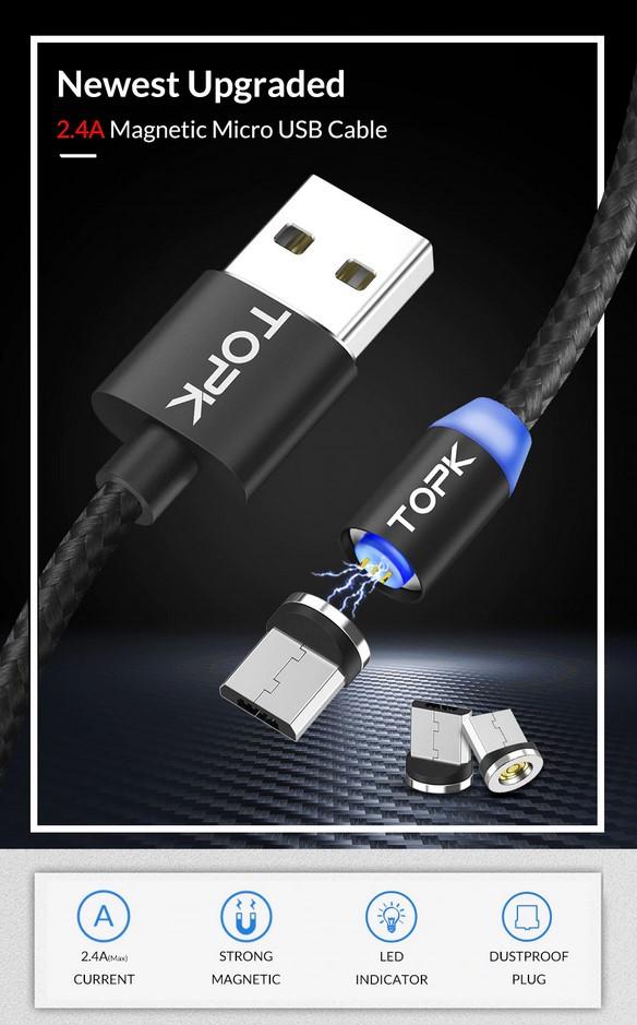 Магнитный кабель Micro USB Topk для зарядки и передачи данных Черный, 1м