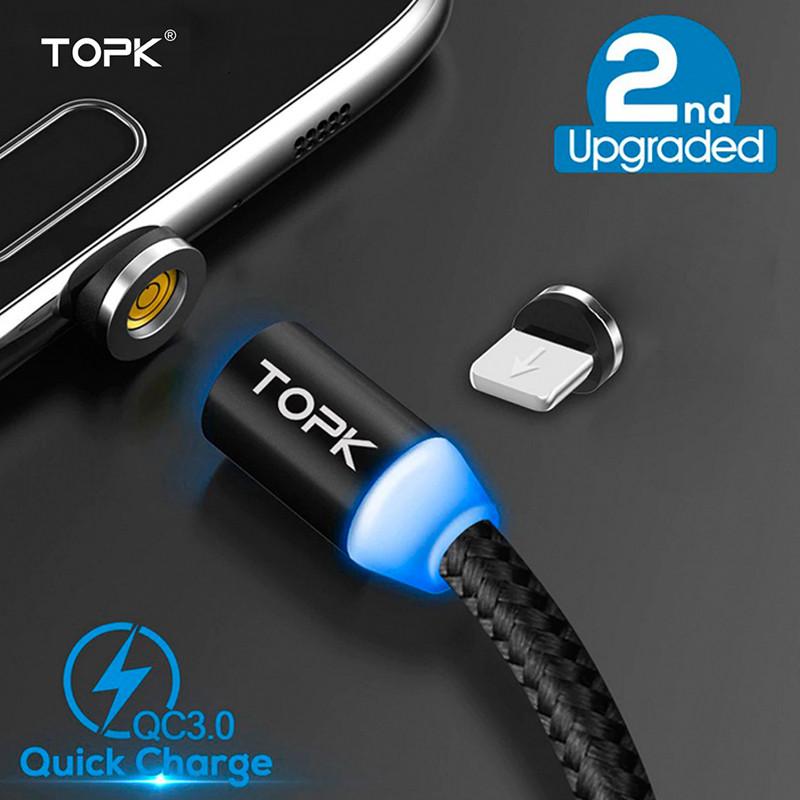 Магнитный кабель Lightning Topk для зарядки и передачи данных iPhone/iPad/iPod (Черный, 1м)